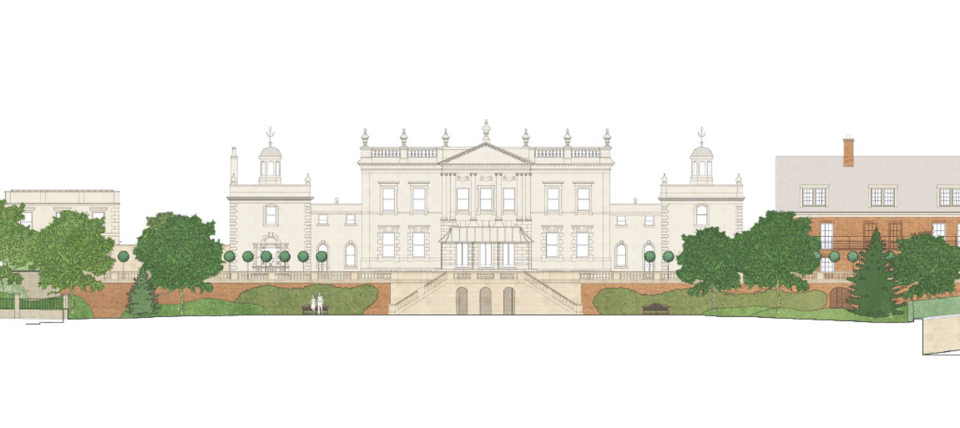Designer's sketch of front elevation of the Manor House