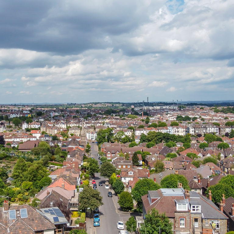 Aerial images look towards City of Bristol from Redland Area